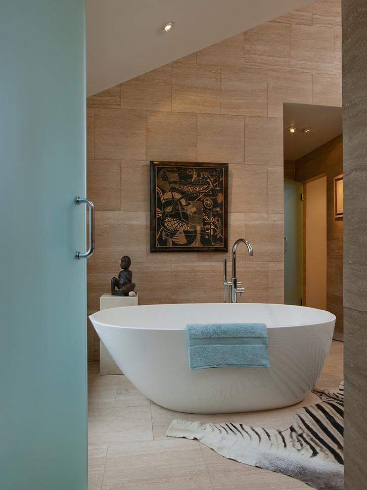 Inspiration for a large modern master beige tile and porcelain tile ceramic tile bathroom remodel in Atlanta with flat-panel cabinets, dark wood cabinets, beige walls and a drop-in sink