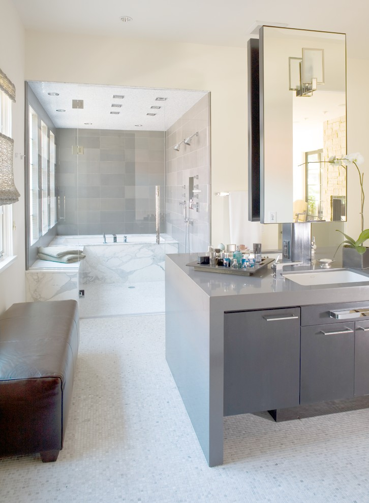 Example of a trendy gray tile double shower design in Denver with an undermount sink, flat-panel cabinets and gray cabinets