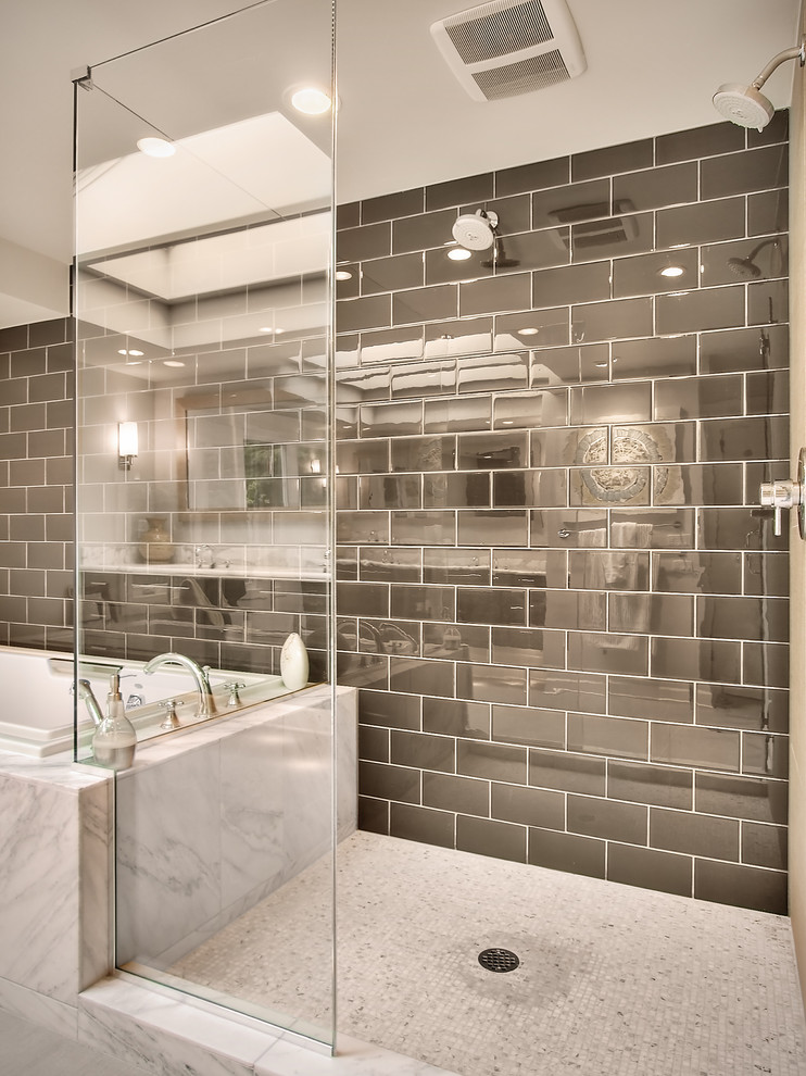 Bathroom - mid-sized contemporary master ceramic tile and gray tile marble floor bathroom idea in Seattle