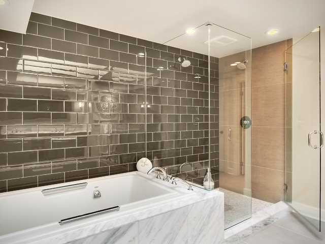 Inspiration for a mid-sized contemporary master gray tile and subway tile bathroom remodel in Seattle with beige walls