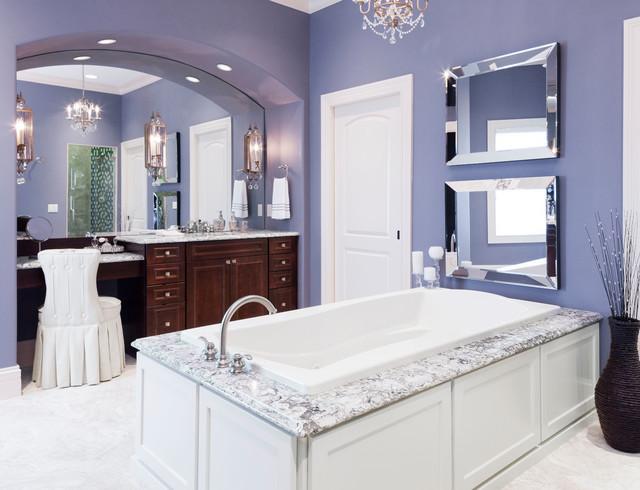 Traditional Drop In Bathtub Idea In Minneapolis With Purple Walls