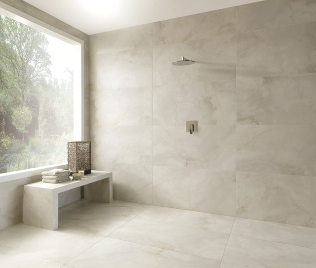 Bello Onyx Polished Porcelain Tile Contemporary Bathroom