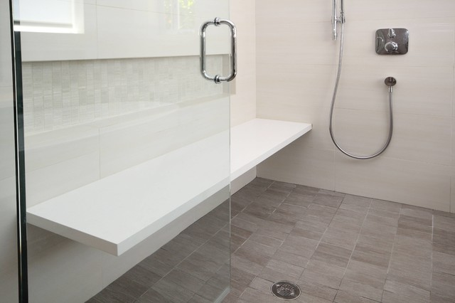 Bench Floating In Shower Contemporary Bathroom San