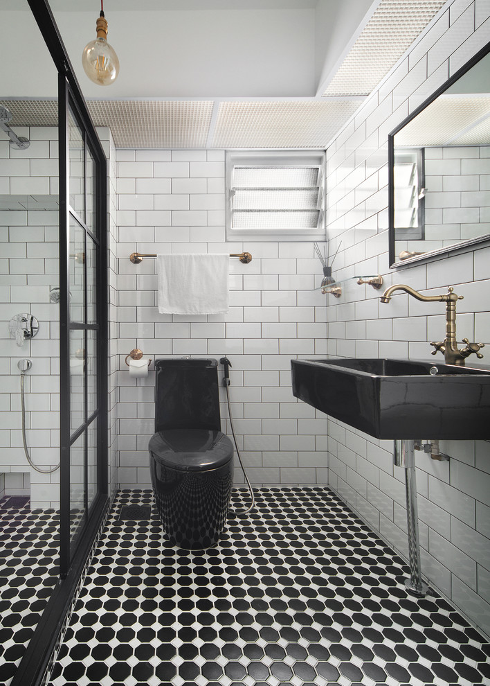 Inspiration for a transitional 3/4 white tile and subway tile multicolored floor alcove shower remodel in Singapore with a one-piece toilet, white walls and a wall-mount sink