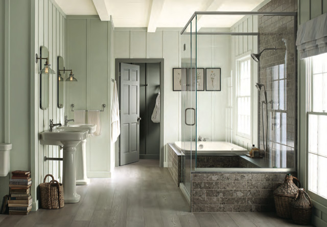 Inspiration For A Contemporary White Tile Bathroom Remodel In Orlando With  A Pedestal Sink And A