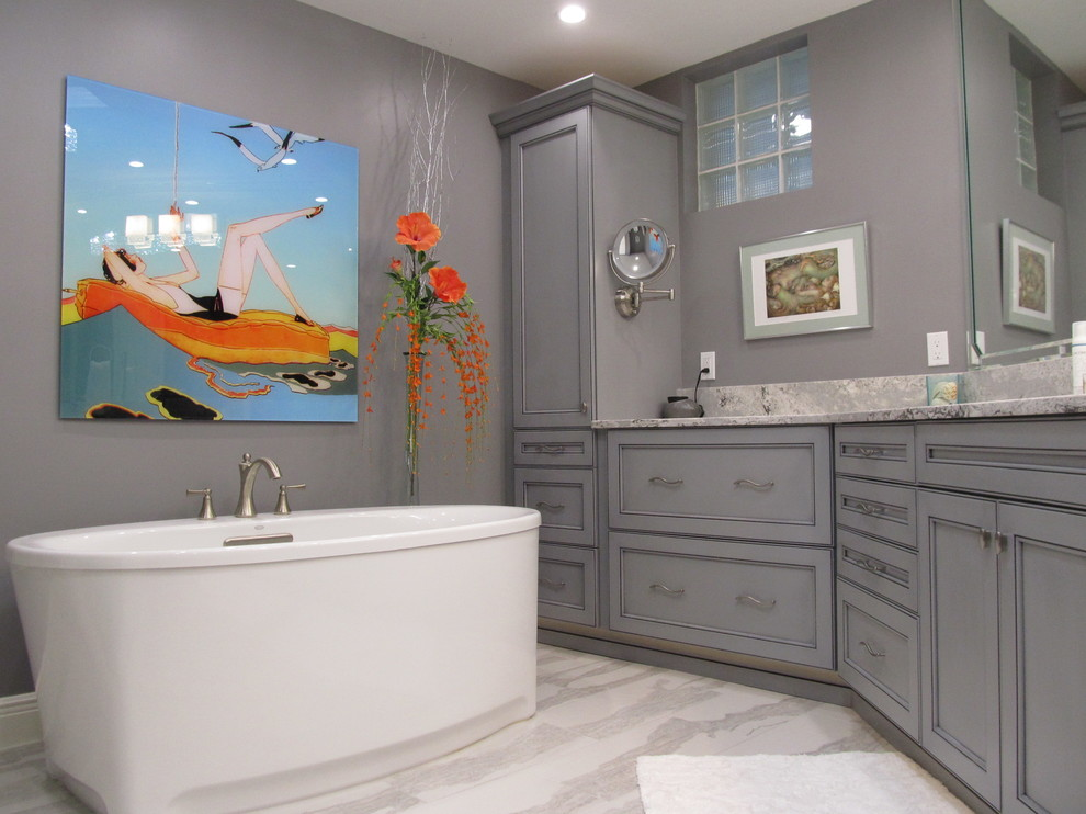 Bathroom - large contemporary master white tile porcelain tile bathroom idea in Miami with recessed-panel cabinets, gray cabinets, gray walls, an undermount sink and quartz countertops