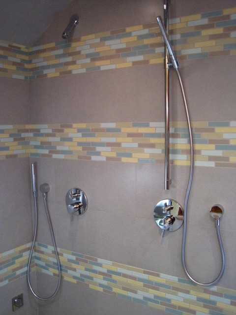 Berkeley Bamboo Vanity And Tile Shower Contemporary