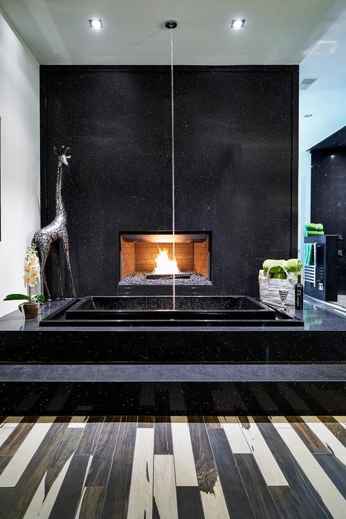 Sparkling black bathroom countertops
