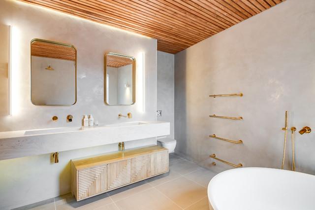 Bespoke wash trough in Corian Limestone Prima contemporary-bathroom