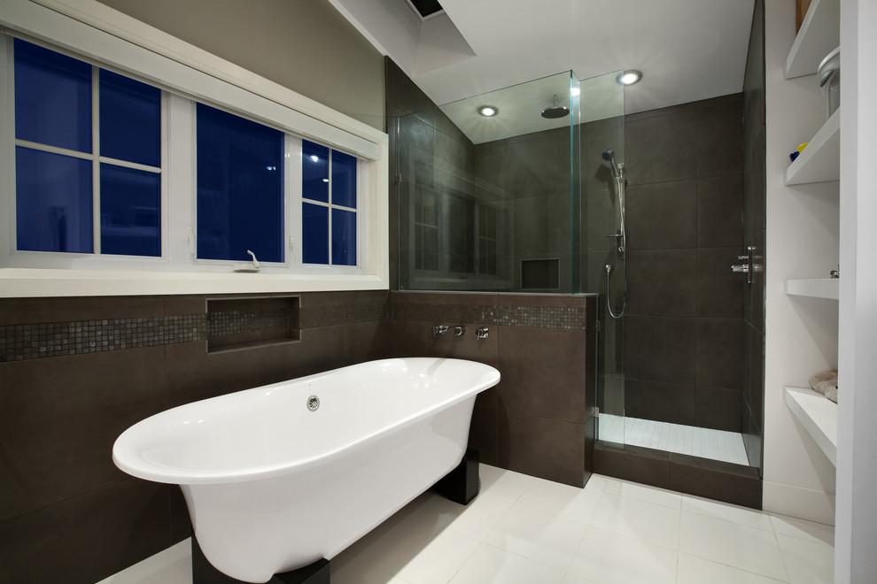 Freestanding bathtub - contemporary mosaic tile freestanding bathtub idea in Vancouver