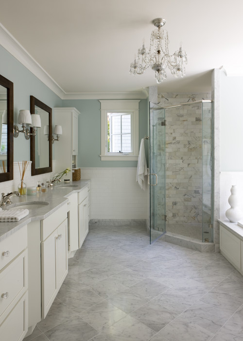 Fancy White cabinets are the top choice in master bathrooms with medium and dark wood ing in No and No respectively Maple is the most mon type of