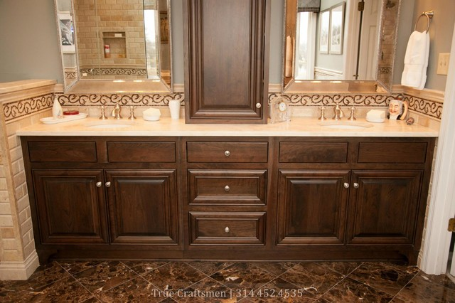 Beveled Durango Travertine With Emperador Dark Marble Traditional Bathroom
