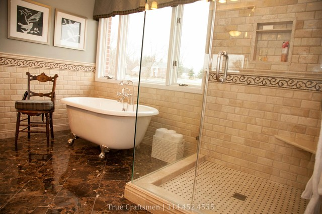 Superior Beveled Durango Travertine With Emperador Dark Marble Traditional Bathroom