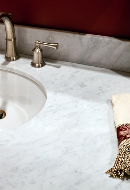 Bianco Carrara Marble Vanity Modern Bathroom Boston