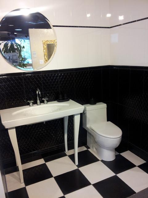 Bianco Nero Bathroom Tile Display Modern Black And White