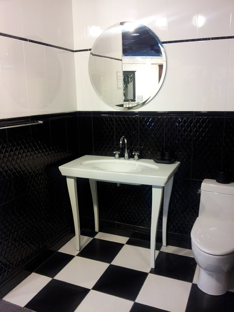 Bianco nero bathroom tile display modern black and white for Black tile bathroom designs