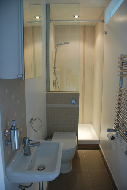 Bijou and compact ensuite contemporary bathroom for Narrow bathroom ideas