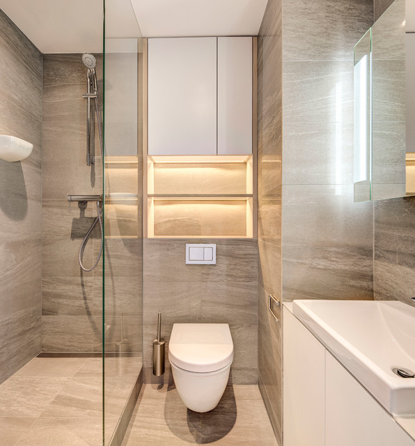 Bijou Studio Apartment Contemporary Bathroom London
