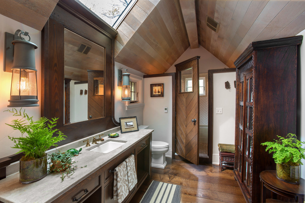 Bathroom - eclectic white tile bathroom idea in Milwaukee with white walls