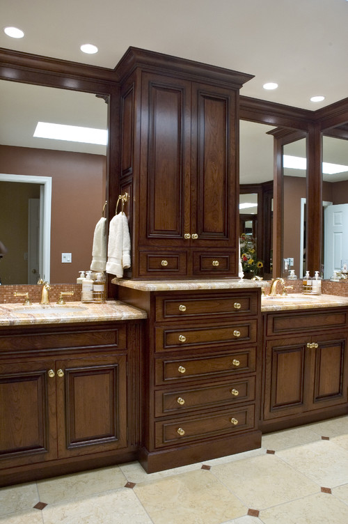 What Are The Overall Dimensions Of This Double Vanity Area Including The Center Tower