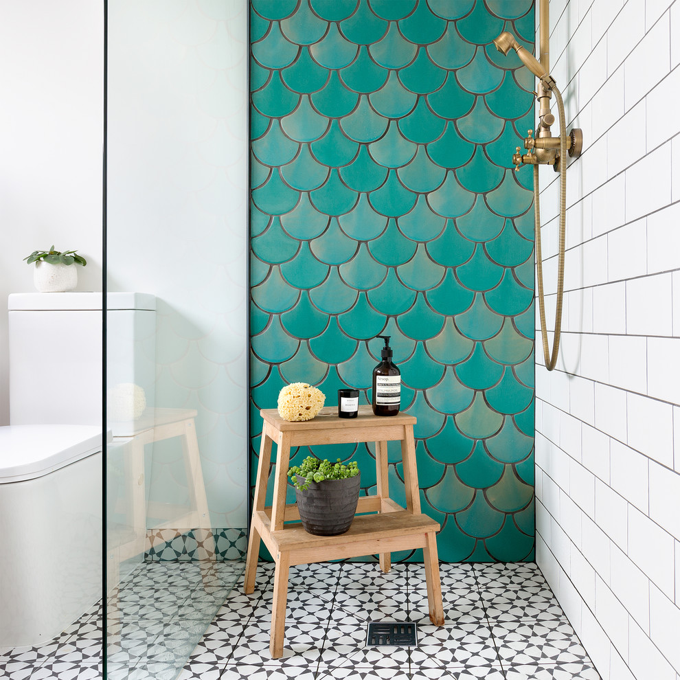Birmingham House Fish Scale Tiles Sea Green And Jade Colour Contemporary Bathroom London By Tile Desire
