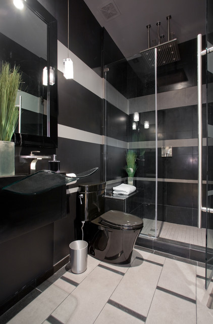 black and gray striped contemporary bathroom
