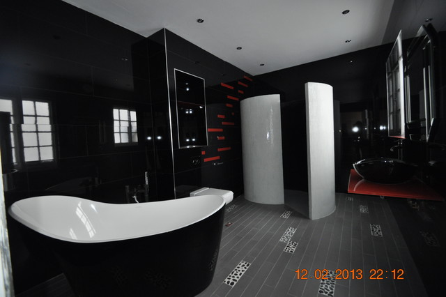 All Black Bathroom Black And Orange Bathroom  Traditional  Bathroom  Other