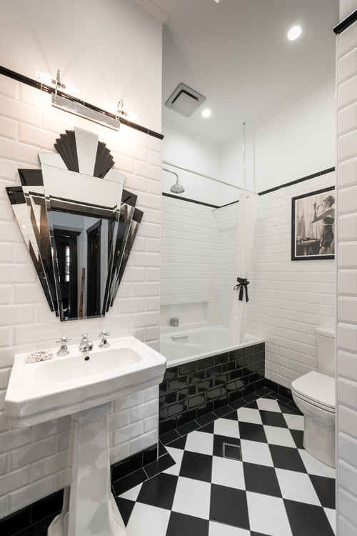 art deco bathroom black and white floor tile
