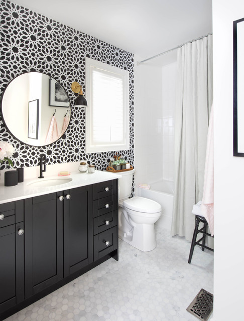 Bathroom - small traditional white tile mosaic tile floor bathroom idea in Toronto with an undermount sink, shaker cabinets, black cabinets and multicolored walls
