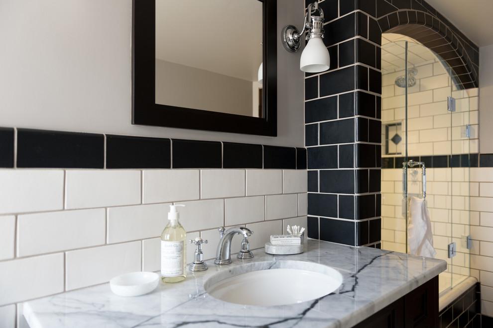 Black White Bathroom Traditional, Bathroom Tile Cincinnati