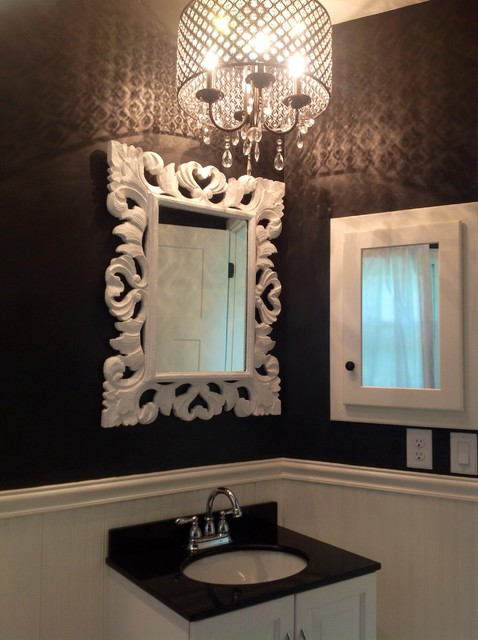 Black and white bathroom with crystal chandelier for Small chandeliers for bathrooms
