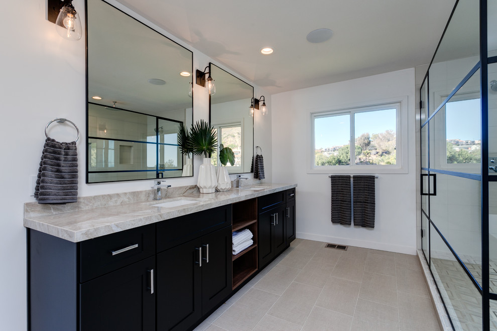 Black and White Cabinets - Contemporary - Bathroom ...