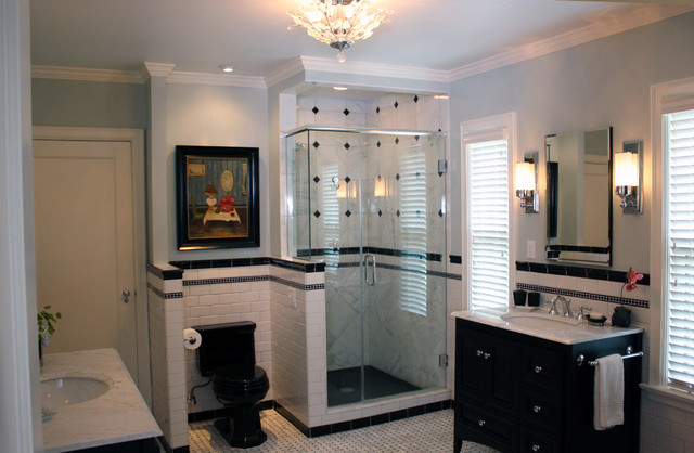 Black and White Contemporary traditional-bathroom