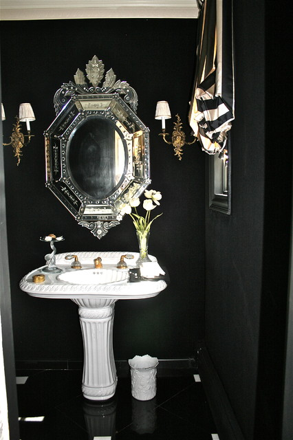 black and gold toilet. Black and White Drama contemporary bathroom  Contemporary Bathroom New York by