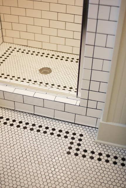 Black And White Hex Tile Traditional Bathroom Part 66