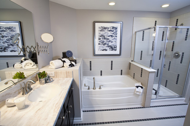 Black And White Tiled Bathroom Contemporary bathroom