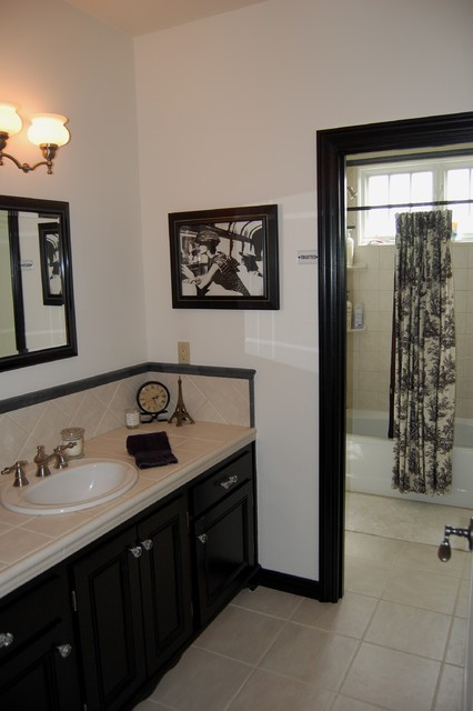Black white toile bathroom mediterranean bathroom for Tan and black bathroom ideas