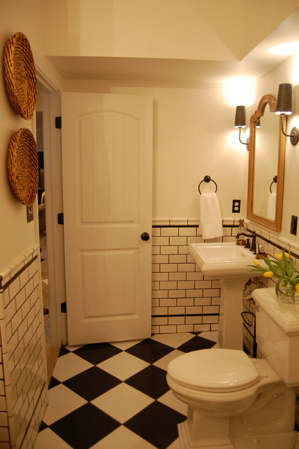 Black And White Vintage Inspired Bath Traditional Bathroom