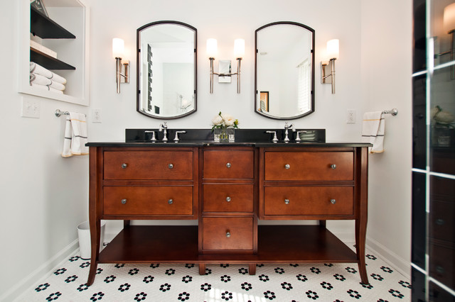 Black And White With Retro Inspiration Traditional Bathroom Nashville By Hermitage