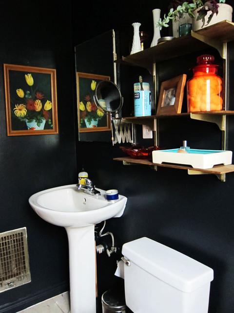 Bathroom Eclectic Idea In Los Angeles With Black Walls