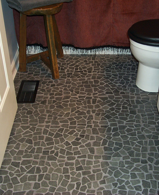 Black Flat Pebble Flooring Lava Rock Mosaic Bathroom Floor - Modern - Bathroom - by Design For Less