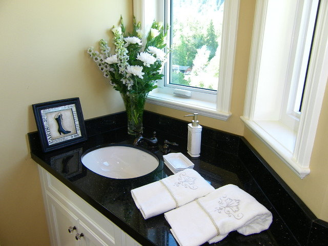 Black Granite Bathroom Countertops Traditional