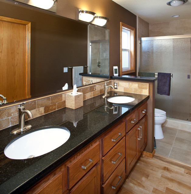 Black granite vanity counter contemporary bathroom for Bath remodel boise