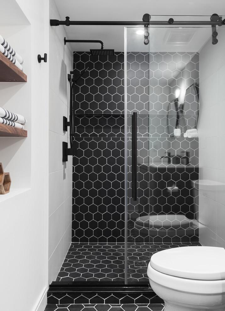 Black Hex Tile Shower Contemporary