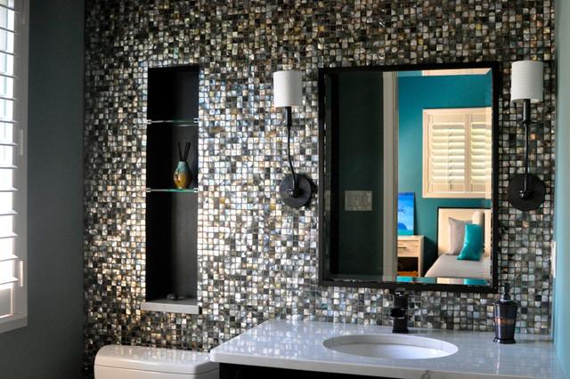 Black Lip Mother Of Pearl Mosaic Bathroom