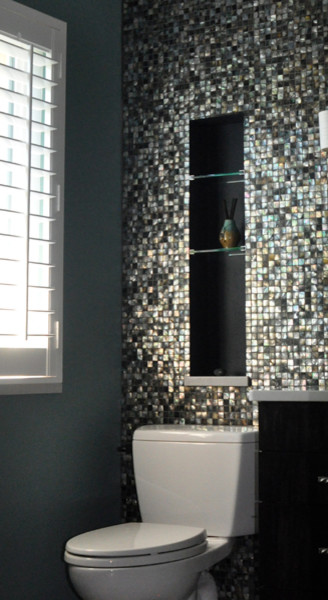 Black Lip Mother Of Pearl Mosaic Bathroom