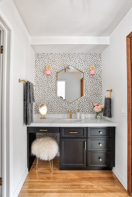 Black Vanity With Brass Hardware Pink Accents