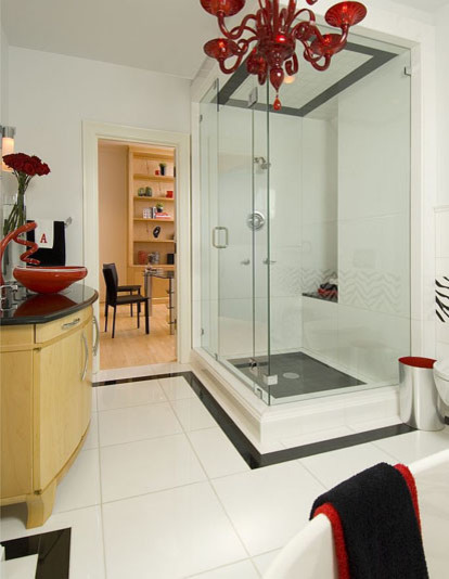 Black, White, and Red All Over contemporary-bathroom