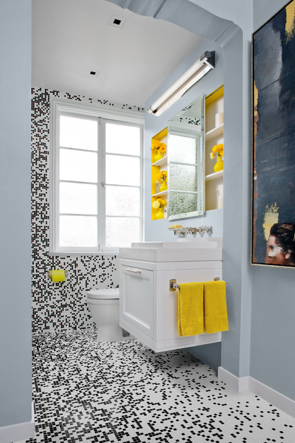 Black white bath w mosaic tile contemporary bathroom for Yellow and green bathroom ideas