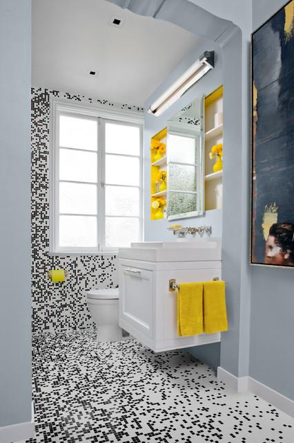 Black White Bath W Mosaic Tile Contemporary Bathroom San Francisco By Jennifer